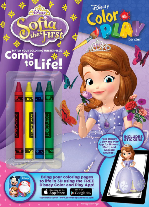 Disney Color & Play Activity Book with Crayons, Sofia the First, 32 Pages, 4 Crayons