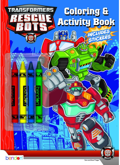 Disney Color & Play Activity Book with Crayons, Transformers Rescue Bots, 32 Pages, 4 Crayons
