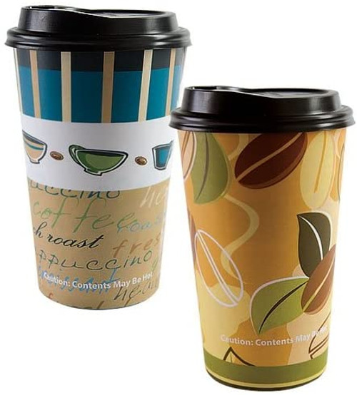 Nicole Home Collection 16 Count Hot/Cold Cup with Lid, 16-Ounce, Coffee Cup or Coffee Bean Pattern