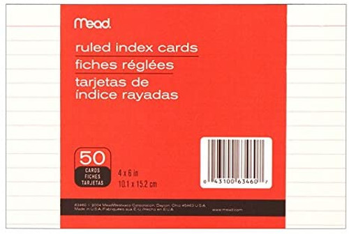 "Mead Index Cards, Ruled, 4"" X 6"", 50 Cards"