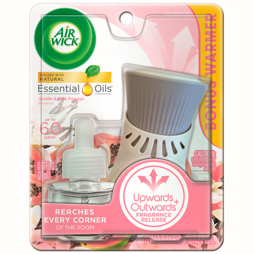 Air Wick Plug In Starter Kit, Warmer + 1 Refill, Vanilla and Pink Papaya, Scented Oil, Air Freshener, Essential Oils