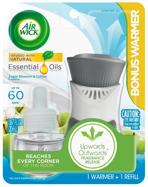 Air Wick Plug In Starter Kit, Warmer + 1 Refill, Apple Blossom and Cotton, Scented Oil, Air Freshener, Essential Oils