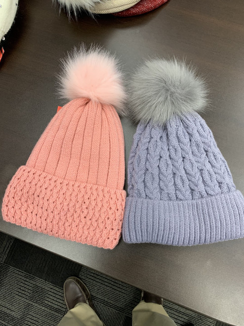 Ladies Pom Pom Hats w/Fur Lining- 2 asst