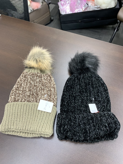 Ladies Chenille Pom Pom Hats