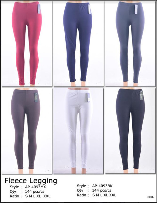 Ladies Fleece Lined Legging- asst- Black- PLUS