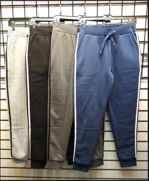 Ladies Fleece Jogger Pants w/Side Stripes