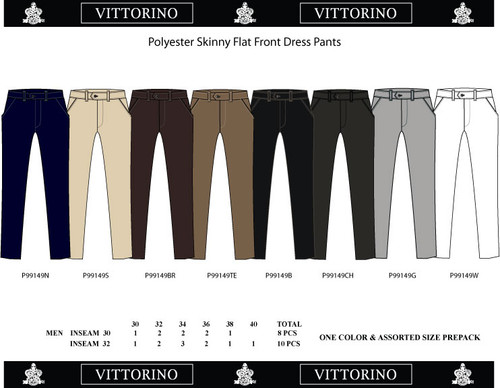 Mens Dress Pants- Skinny 30-40 Navy