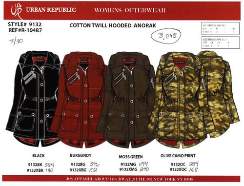 Ladies Ctn Twill Anorak Jacket w/Hd-Plain Ln BLACK