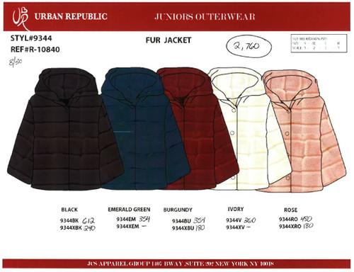 Ladies Fur Jacket w/ Hd Btn Front BLACK