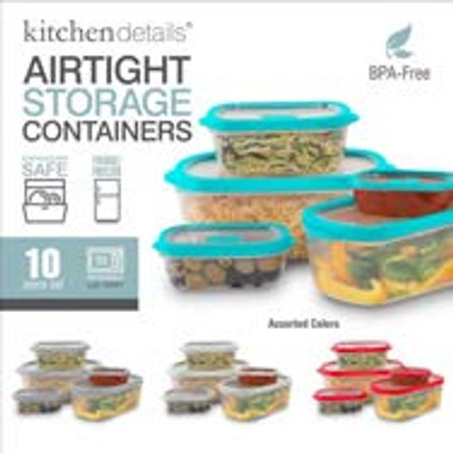 Clear Rectangle Food Storage Set 10pc Asst Colors
