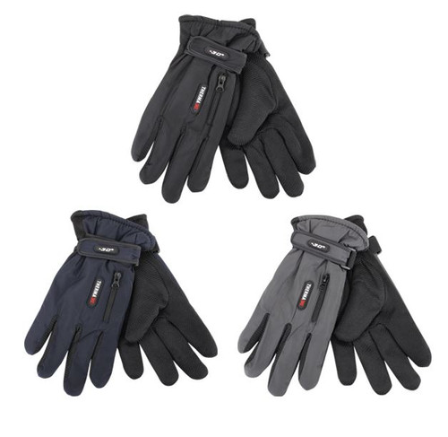 Mens Lt Weight Ski Gloves w/Zipper & Velcro