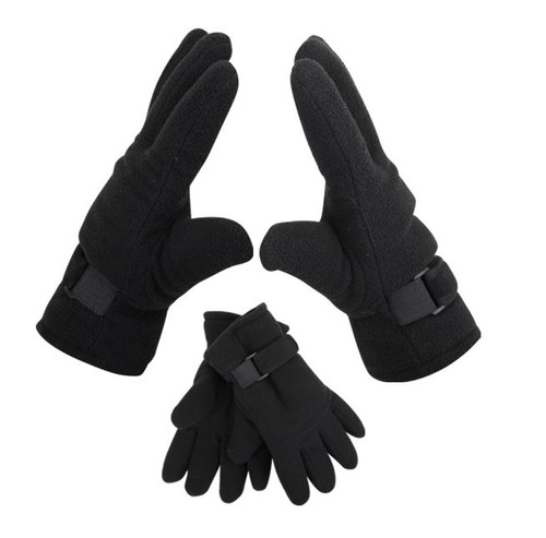 Mens Chunky Fleece Gloves w/Velcro- Black