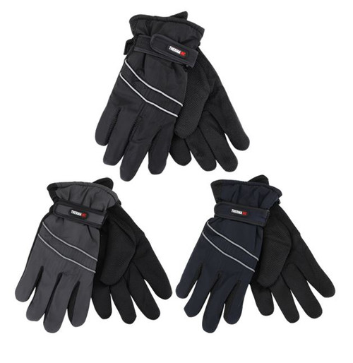 Mens Ski Gloves w/Piping &  Velcro