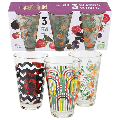 Splash Drinking Glass Set Printed 3pk Asst 10.5oz