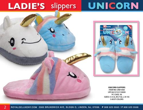 Ladies Plush Unicorn Slippers- asst