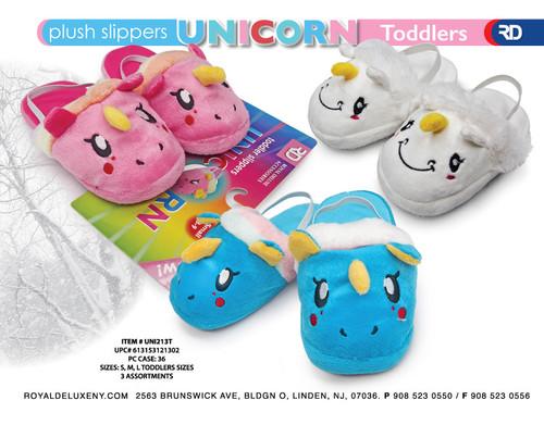 Toddler Girl Plush Unicorn Slipper 3 asst
