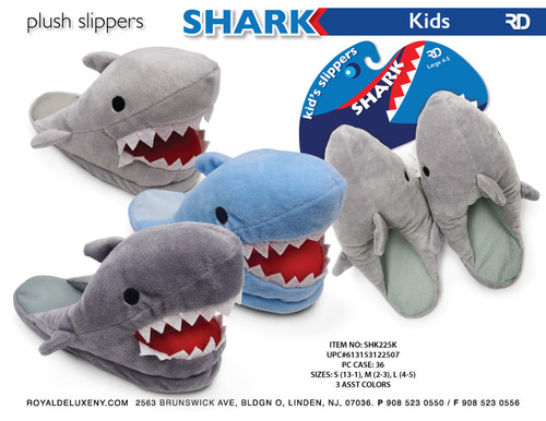 Boys Shark Plush Slipper asst