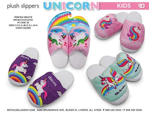 Girls Plush Print Unicorn Slippers- 4 asst