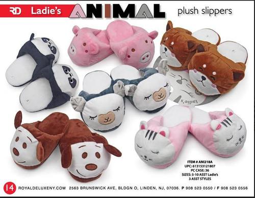 Ladies Plush Animal Slippers asst