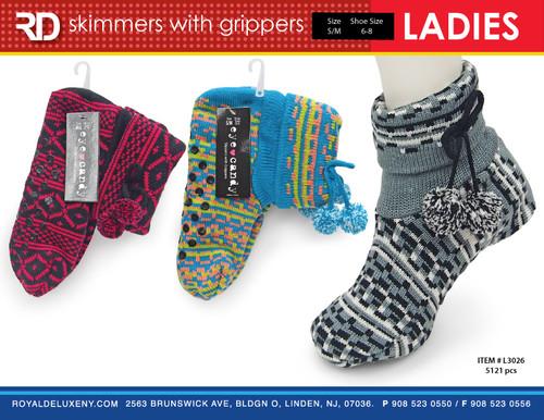 Ladies Sweater Knit Socks w Grippers/Pom Pom