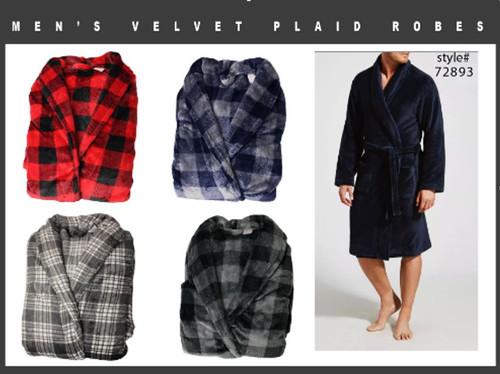 Mens Velvet Robes- Buffalo Plaids