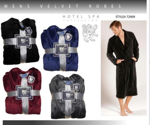 Mens Velvet Robes- Solid w/Shawl Collar