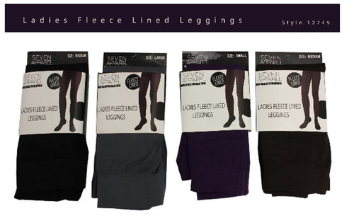 Ladies Fleece Lined Leggings in pkg S-XL
