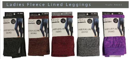 Ladies Heathered Fleece Lined Leggings in pkg S-XL