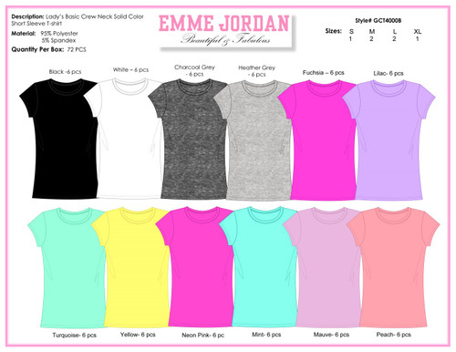 Ladies S/S Yummy Tees- Crew Neck