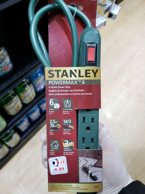 Stanley 6 Outlet UL Power Strip- Green