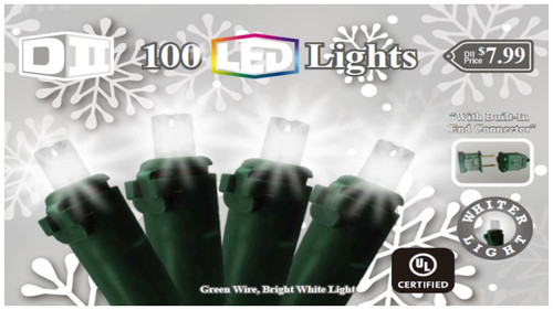 SW: 100 UL Light Set LED Cool White w/Green Wire