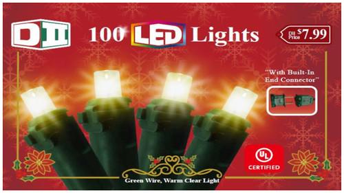 RHG: 100 UL Light Set LED Warm White w/Green Wire