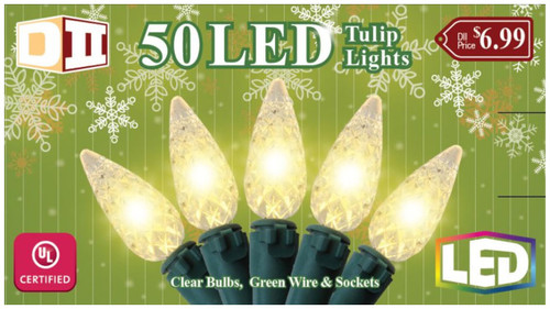 OG: 50 Tulip UL Light Set LED - Warm White Bulbs