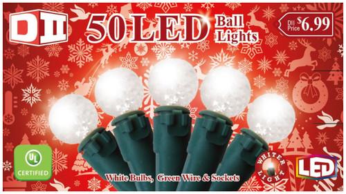 RW: 50 Ball UL Light Set LED - Cool White Bulbs
