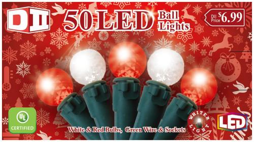 RW: 50 Ball UL Light Set LED - Red White Bulbs