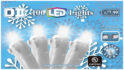 SB: 100 UL Light Set LED Cool White w/White Wire
