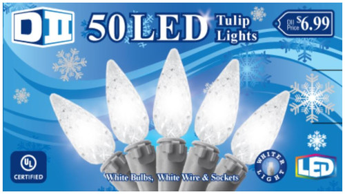 SB: 50 Tulip UL Light Set LED -  Cool White Bulbs
