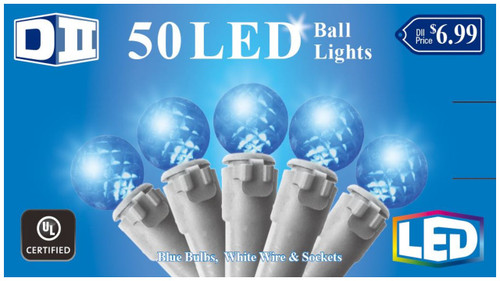 SB: 50 Ball UL Light Set LED -  Blue Bulbs