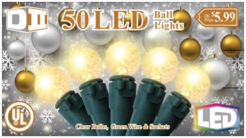 SG: 50 Ball UL Light Set LED- Clear Bulb