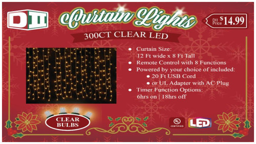 300ct LED Curtain Light Set - Cool White, MF
