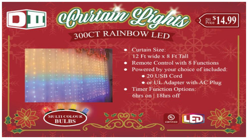 300ct LED Curtain Light Set - Rainbow Color, MF