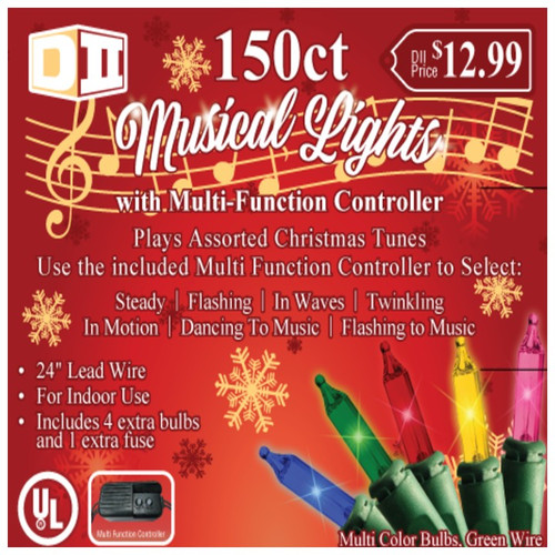 150ct Musical UL Light Set Multi w/Controller