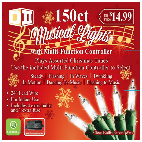 150ct Musical UL Light Set White w/Controller