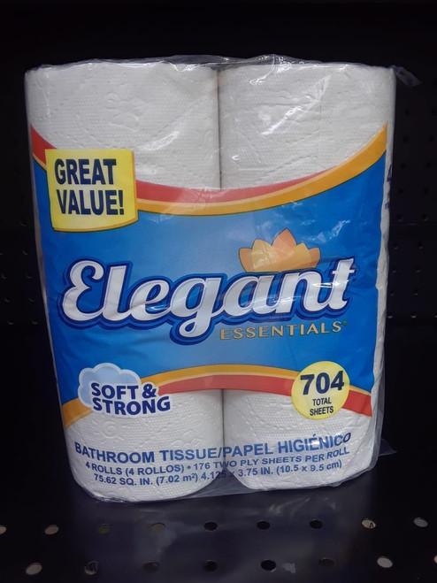 Elegant Toilet Paper, 2 Ply, 4 Rolls