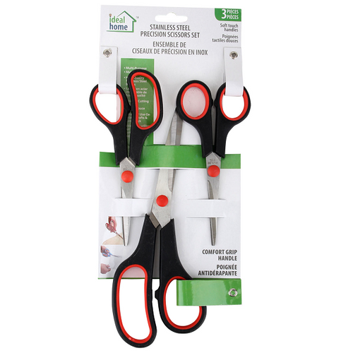 Ideal Home Stainless Steel Precision Scissors Set, 3 Pack