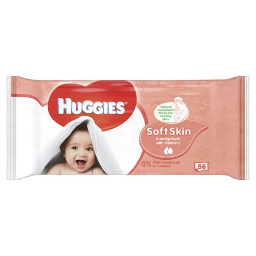 Huggies Baby Wipes Soft Skin, 56 Wipes