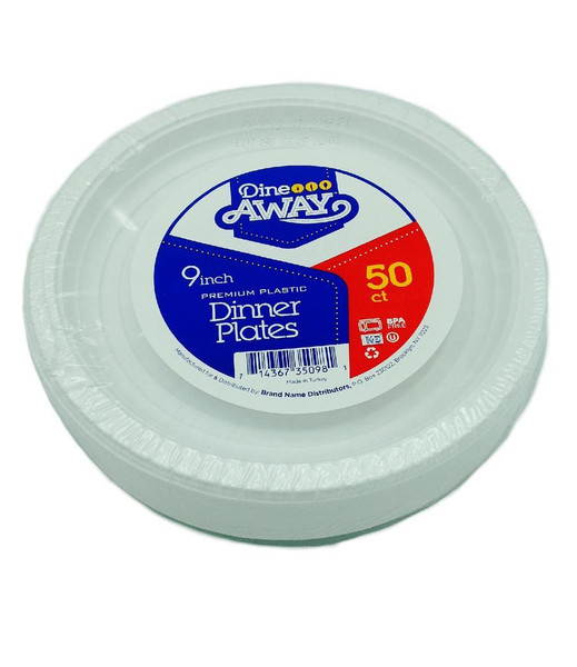 Dine Away Plastic Plates, 9'' 50 ct