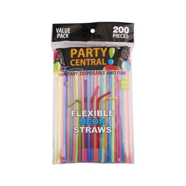 Party Central Flexible Neon Straws, 200 Straws