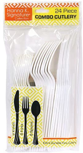 Hannah K. Signature Collection Solid Plastic Cutlery 24-Pack Combo, 8 Spoons, 8 Knives, 8 Forks