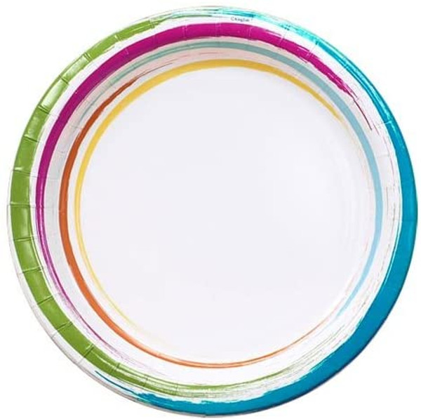 Nicole Home Collection Dinnerware Paper Plates, Brushstrokes, 8-1/2-Inch, 48 Plates